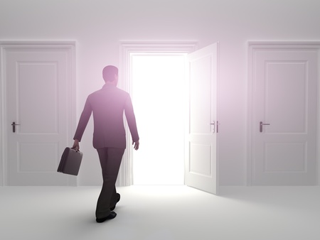 conquering: Door to success, Business male choosing the entrance to an open door. Female version also available