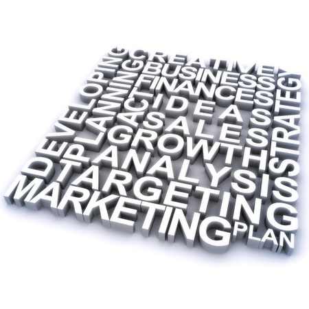 Marketing concept, 3d rendering of marketing related concept words photo