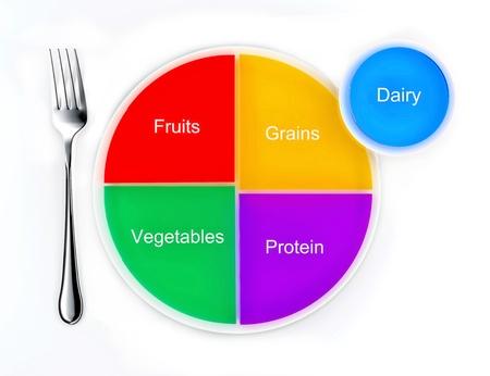 Los grupos de alimentos representados en un gráfico de tarta en un plato, la nueva placa de sustitución de mi pirámide de los alimentos Foto de archivo - 12026697
