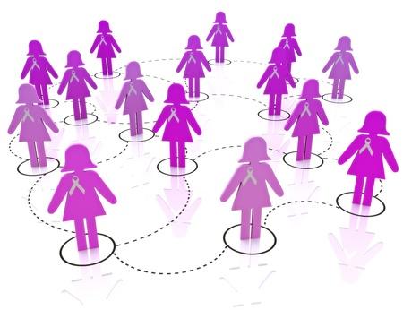 cancer de mama: El c�ncer de mama conocimiento de la red Foto de archivo