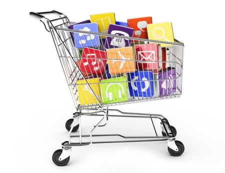 mobile shopping: 3d render of a shopping cart with application software icons isolated on a white background