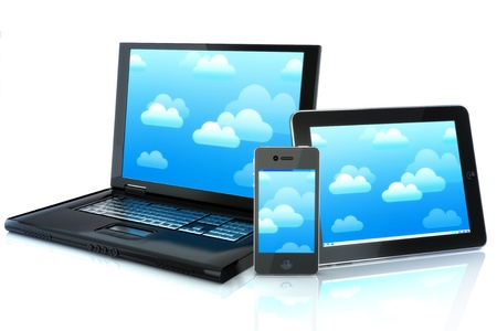 Mobility devices,smartphone,tablet pc and a laptop-cloud computing Stock Photo - 12376551