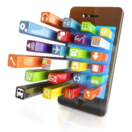 Smartphone apps,touchscreen smartphone with application software icons extruding from the screen, isolated in white photo