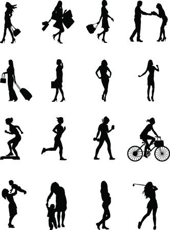 Elke dag vrouw, diverse silhouet vormt van een vrouw op het werk en in Stock Illustratie