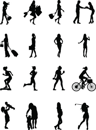 Everyday female, various silhouette poses of a female at work and at play Vector