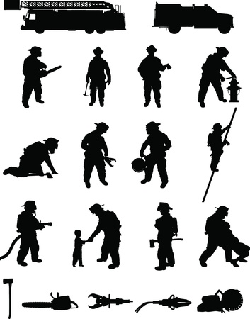Firefighter booster pack 2, vaus firefighting positions, search and rescue, ladder climbing,extrication, with equipment  Stock Vector - 12813082
