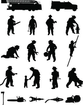 booster: Sapeur-pompier booster pack 2, diverses positions lutte contre les incendies, de recherche et de sauvetage, escalade d'�chelles, de d�sincarc�ration, avec des �quipements Illustration