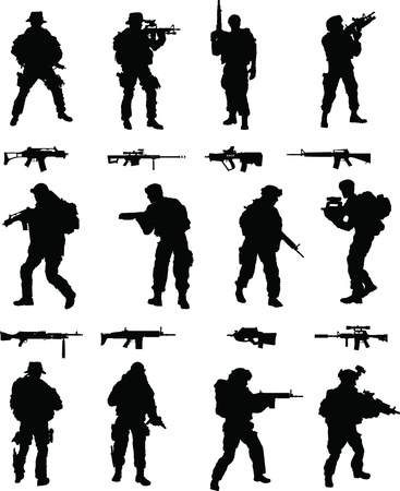 Special Operations Booster Pack,1 of 2 collection of elite military members in action, assorted weapons included  Stock Vector - 12813089