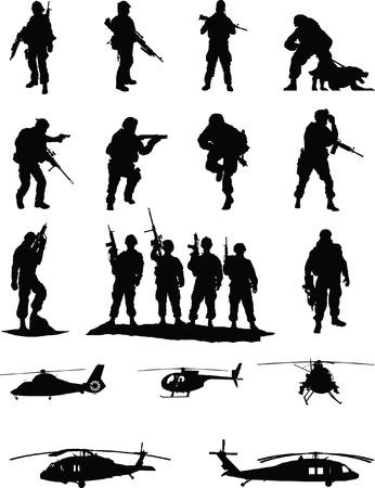 ranger: Operazioni speciali Booster Pack 2 di 2, collezione di membri d'elite militari in azione con elicotteri da trasporto Vettoriali