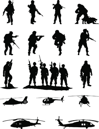 soldier with rifle: Special Operations Booster Pack  2 of 2,collection of elite military members in action with transport helicopters  Illustration