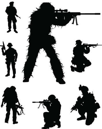 military silhouettes: Military elite Illustration