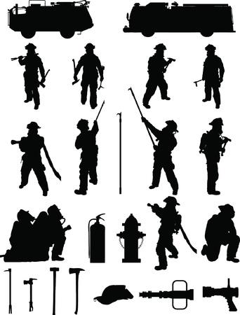 Bombero de sobres 1, distintas posiciones de lucha contra incendios, con el equipo Ilustración de vector