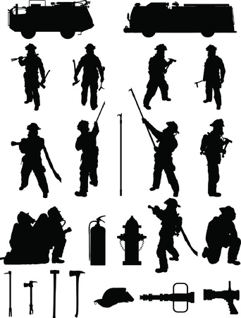 Firefighter booster pack 1, various firefighting positions, with equipment Vector