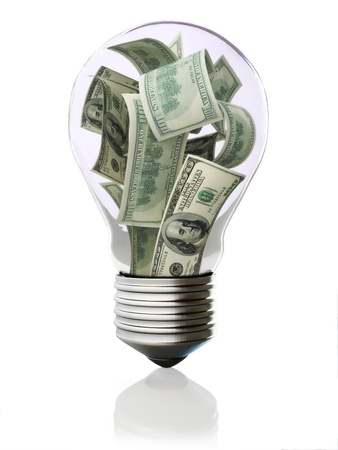 Money in light bulb concept