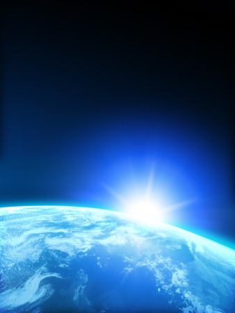 rising sun: Planet Earth with Rising sun with room for text or copy space. Stock Photo