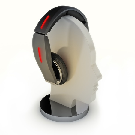 Headphones on a mannequin head  Abstract design Stock Photo - 13209313