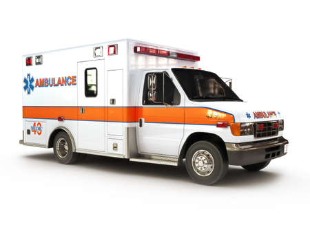 paramedic: Ambulancia sobre un fondo blanco, parte de una primera serie de respuesta, la versión de la noche iluminada también está disponible Foto de archivo