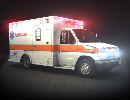 Ambulance with lights ,Part of a first responder series Daylight version also available
