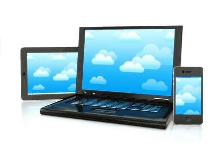information median: Cloud computing, laptop,smartphone and pad electronics