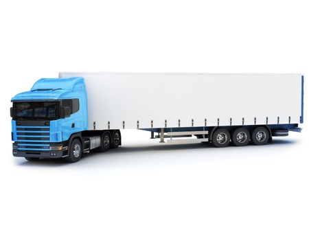 Commercial large truck with room for copy space on a white background