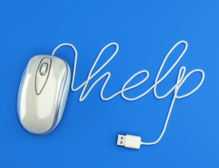 request: Computer help, white mouse with the cable spelling help with a blue background