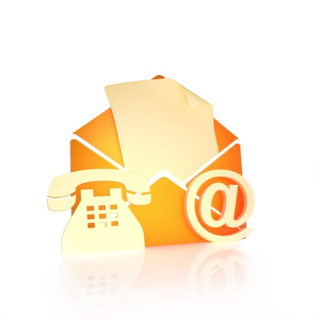 contact: Contact us, via mail , internet, and phone concept on a white background