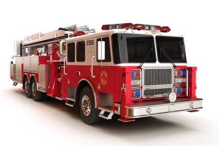 engine fire: Firetruck on a white background, part of a first responder series,lighted night version also available  Stock Photo