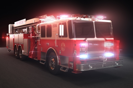response: Fire truck with lights, Part of a first responder series  Daylight version also available