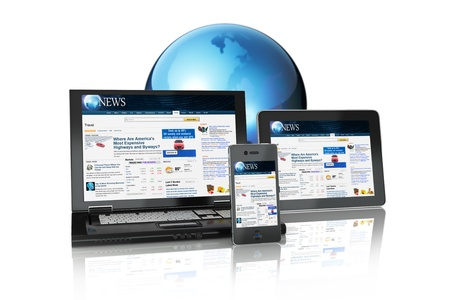 Multi platform Media Group of Electronic Devices tablet PC,laptop and business smart phone connected online on a white background