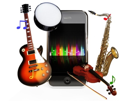 Smartphone music, various instruments coming from a smartphone concept on a white background Stock Photo - 13996275