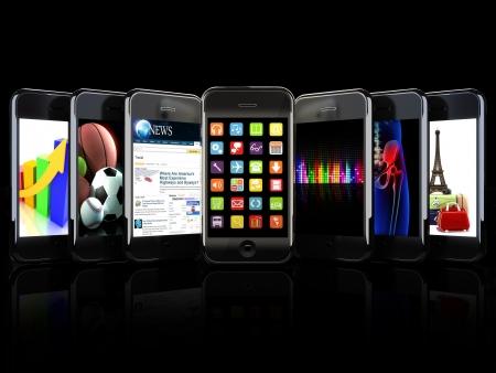 технология: Смартфонов, приложения, и использует концепции на черном фоне Фото со стока