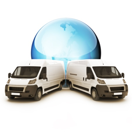 transporter: Truck courier world wide sevrvice concpet with room for copy space