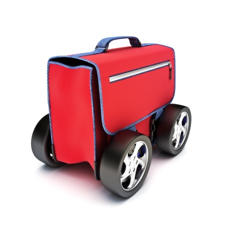 Traveling suitcase on wheels, road travel concept on a white background photo