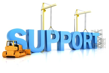Support building concept on a white background.SUPPORT word, representing development in sports ,recreation , or work place  photo
