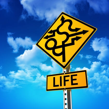 road ahead: Sign concept symbolizing life is full of twists and turns with a sky background