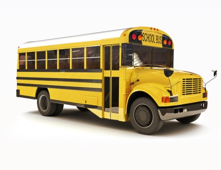 school: School bus with white top isolated on a white background