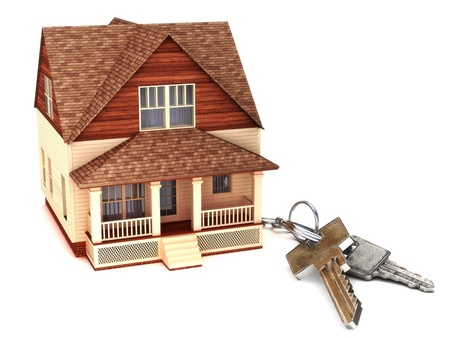 House with keys, home buying,ownership or security concept  Stock Photo