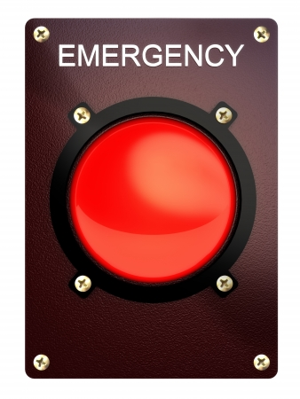 Emergency stop button on a white background  photo
