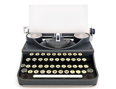 Retro vintage schrijfmachine vooraanzicht met papier, ruimte voor tekst of kopie ruimte op een witte achtergrond