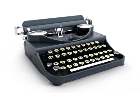 Retro vintage typewriter side view on a white background  Stock Photo - 14877751