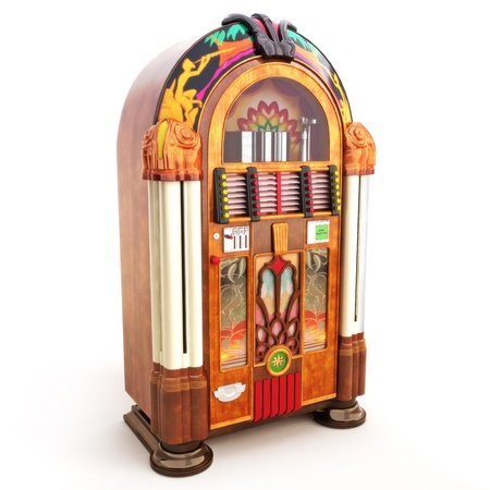music machine: Retro vintage jukebox on a white background 3d model