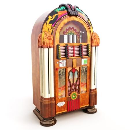 hits: Retro vintage jukebox on a white background 3d model