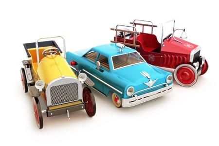 juguetes antiguos: Colecci�n retro de la vendimia de coches de juguete sobre un fondo blanco