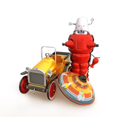 top: Retro vintage collection of toys, car, spin top and robot on a white background  Stock Photo