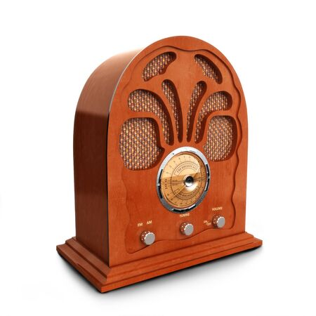 白い背景の上のレトロ ビンテージ木製ラジオ 写真素材