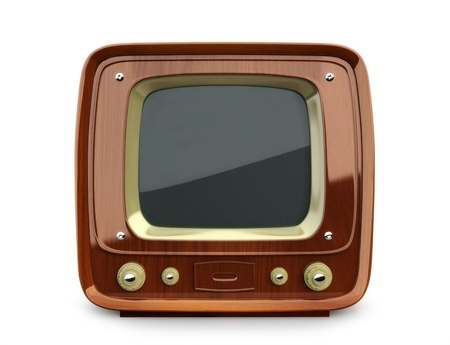 old fashioned: Retro wooden TV, front view on a white background  Stock Photo