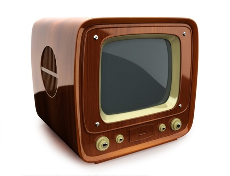 tv station: Retro wooden TV, side view on a white background  Stock Photo