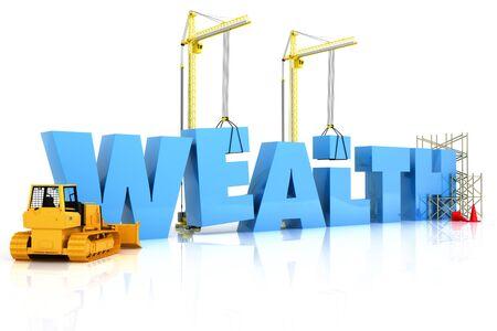 富の建物の建設や修理、白い背景で隔離の下