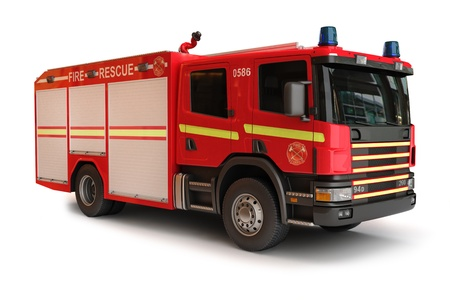 red siren: European Firetruck on a white background, part of a first responder series  Stock Photo