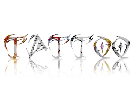 Tattoo text with Color tattoo s on each letter on a white background  photo